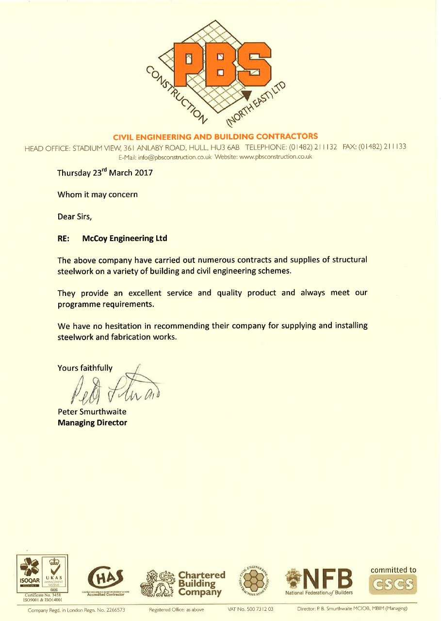 PBS Construction (North East) Ltd testimonial for McCoy Engineering